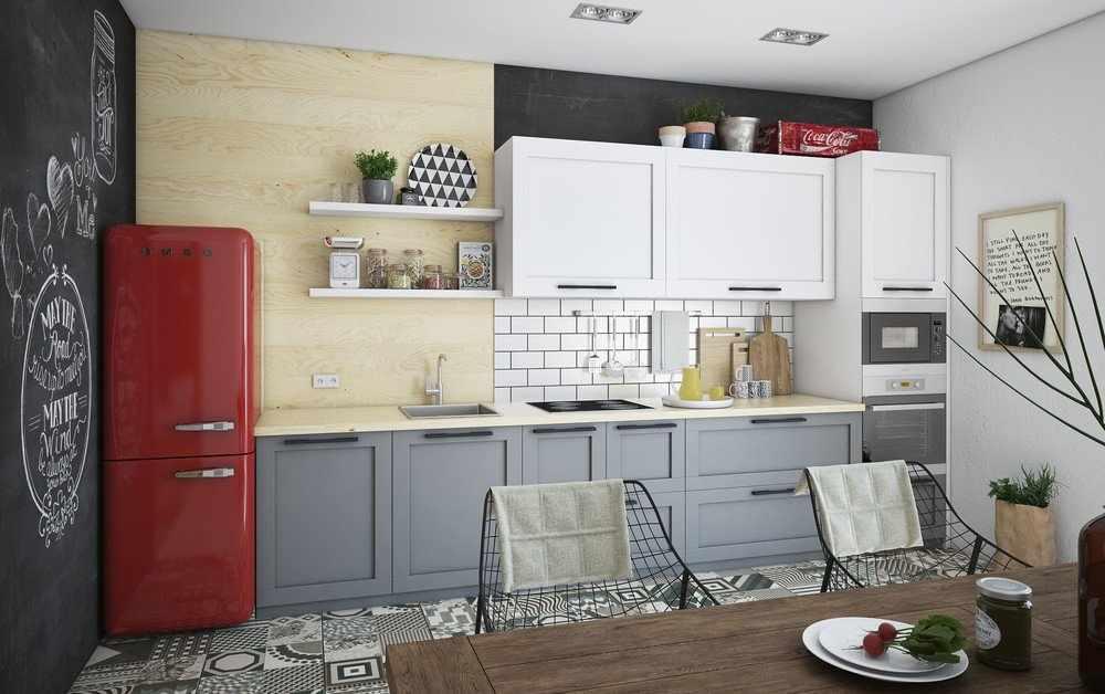 Красный холодильник в интерьере кухни