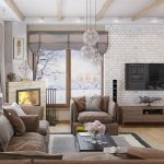 Потолок с балками в гостиной
