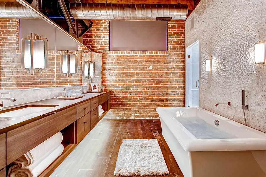 Кирпич в ванной комнате