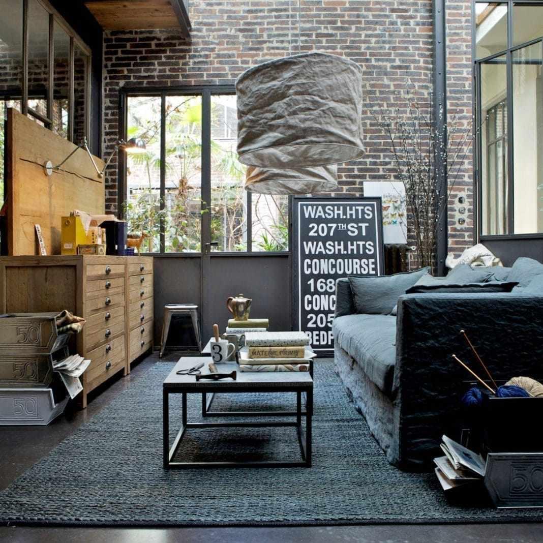 Стены под кирпич в интерьере в индустриальном стиле