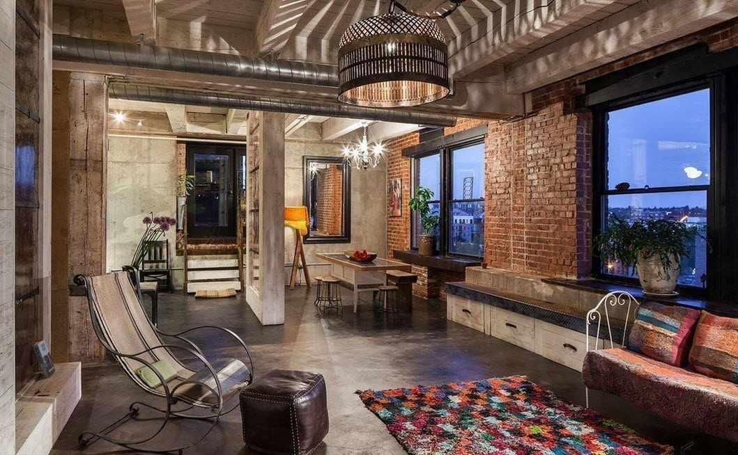 Комната с индустриальным дизайном