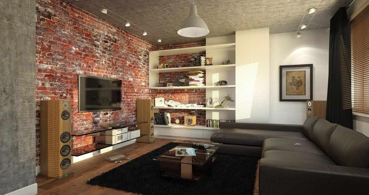 Интерьер гостиной в индустриальном стиле