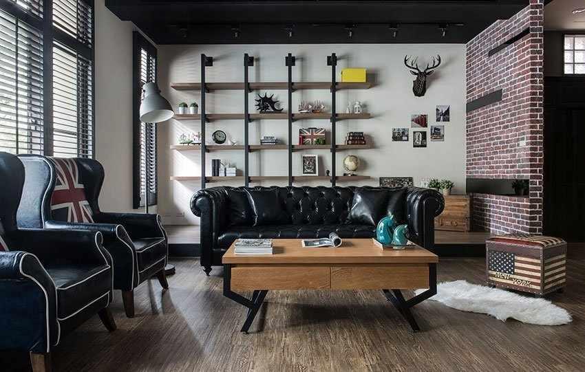 Деревянный пол в интерьере в индустриальном стиле