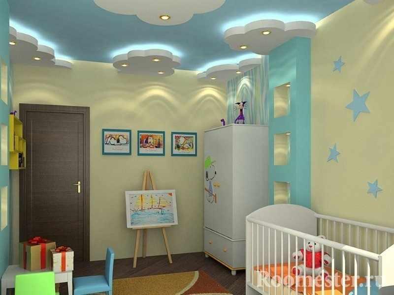 Подсветка на стенах и потолке детской