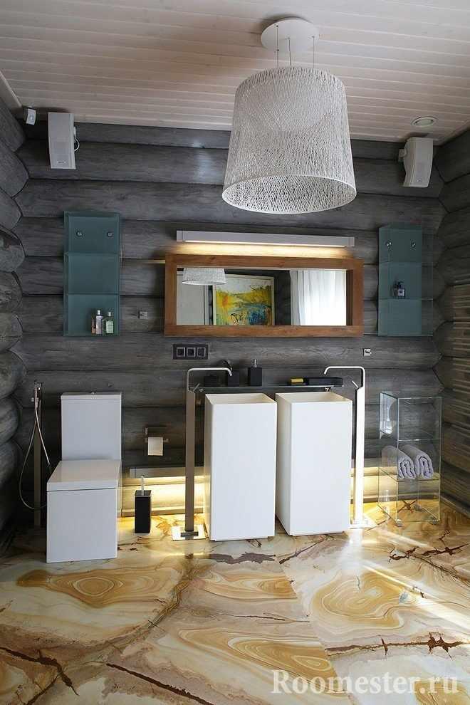 Ванная комната с серыми деревянными стенами