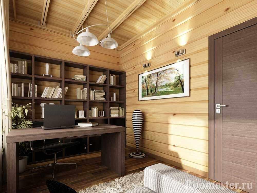 Светлый кабинет в доме из бруса