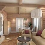 Комната с зонами столовой и гостиной