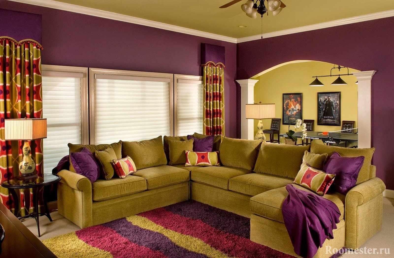 Фисташковый и фиолетовый цвета в интерьере