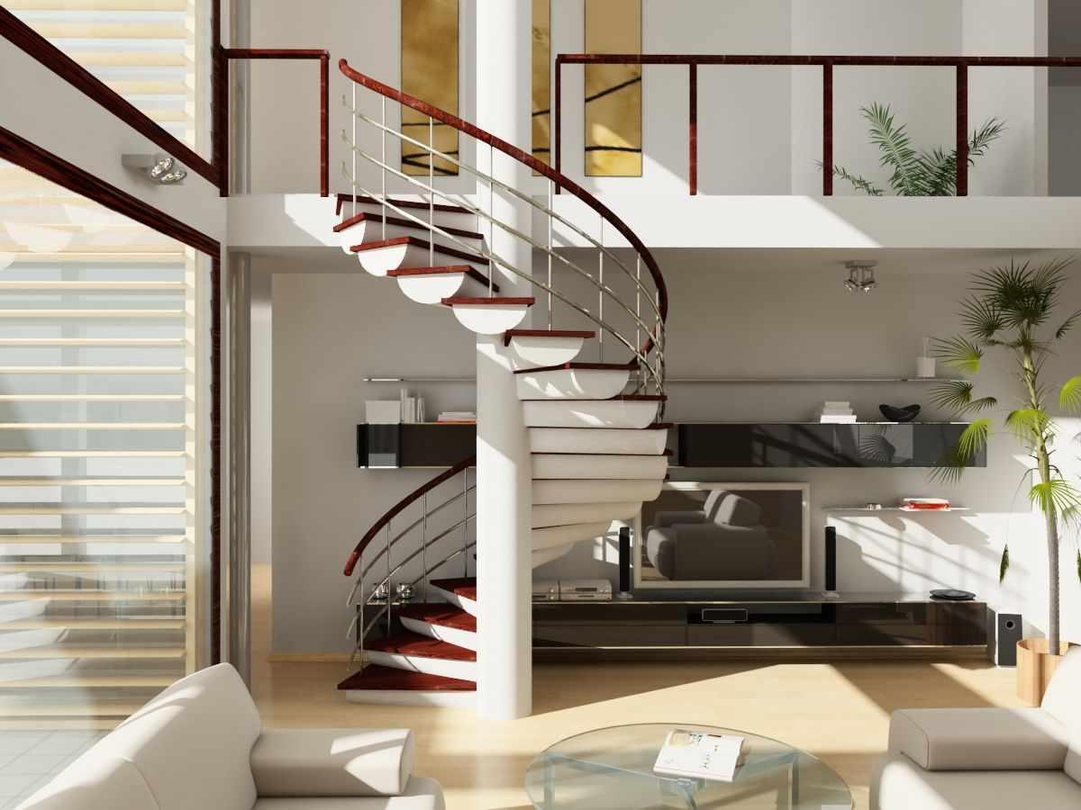 Гостиная с винтовой лестницей