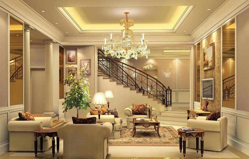 Гостиная в классическом стиле с лестницей