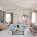 Белый интерьер гостиной