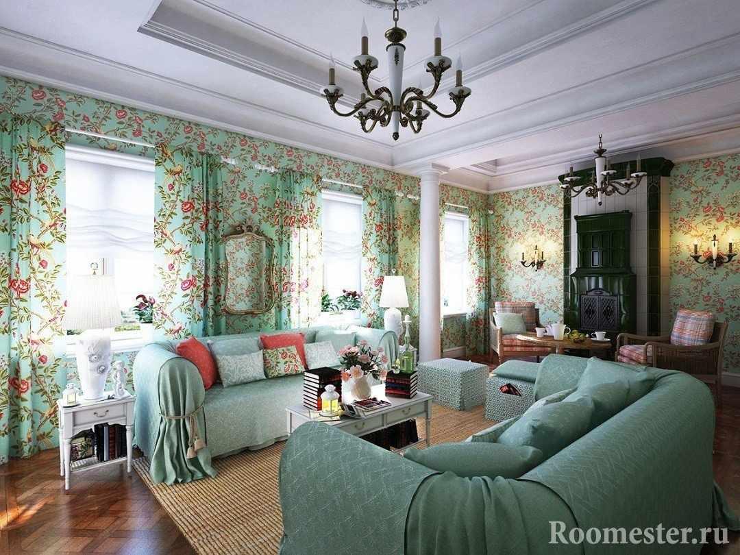 Классический интерьер гостиной в частном доме