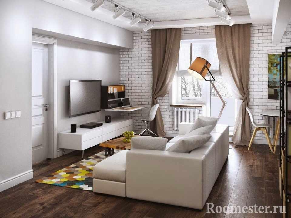 Маленькая комната, но уютное расположение всех функциональных зон
