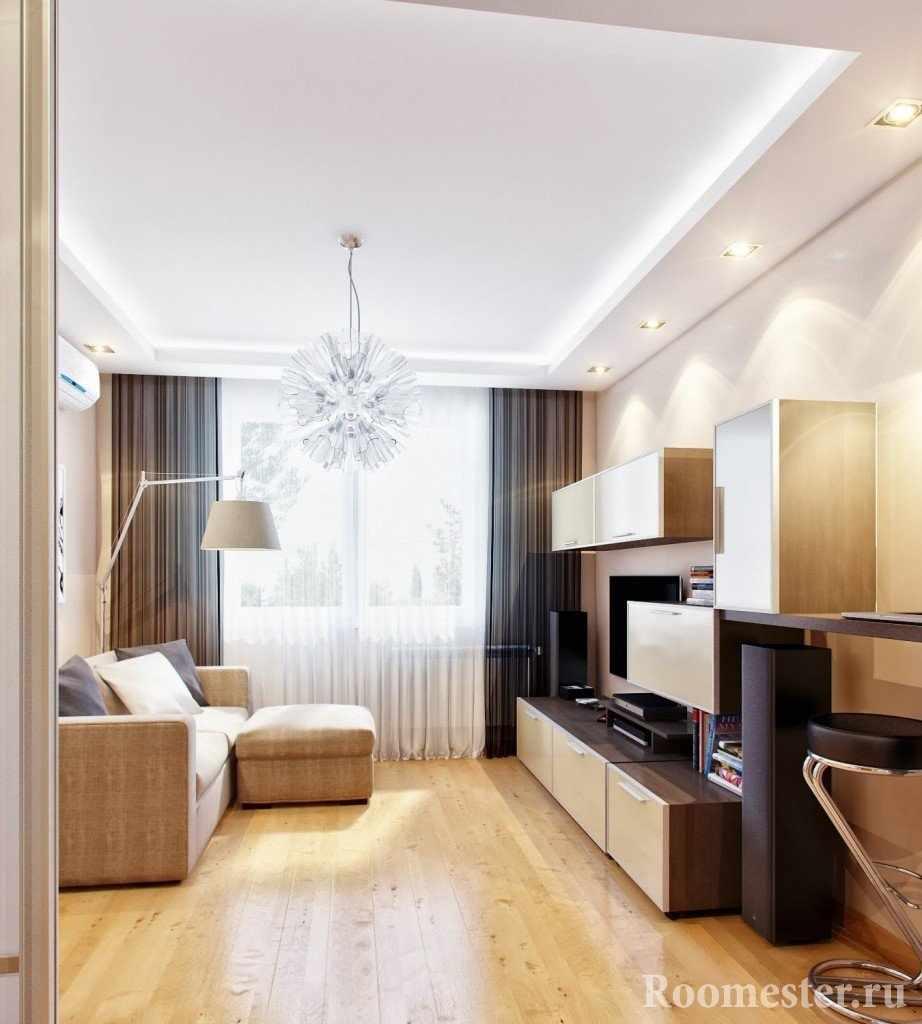Многоуровневые потолки в гостиной
