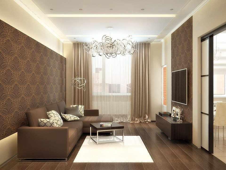 Интерьер гостиной в коричнево-бежевом цвете