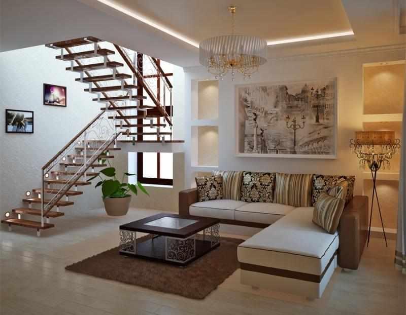 Гостиная с лестницей в загородном доме