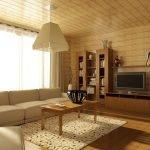 Интерьер гостиной из дерева