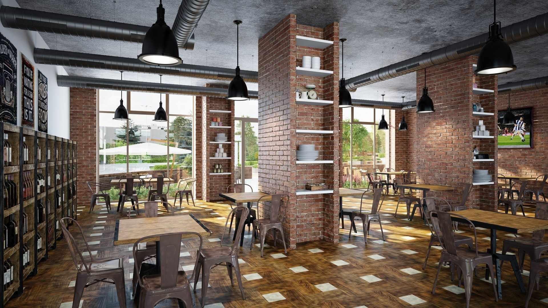 Мебель в кафе в стиле лофт