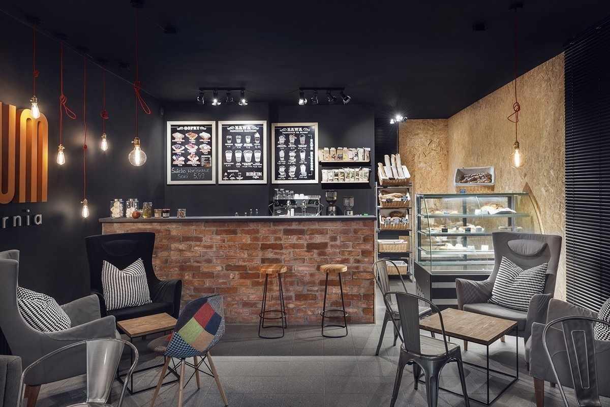 Барная стойка в кафе в стиле лофт