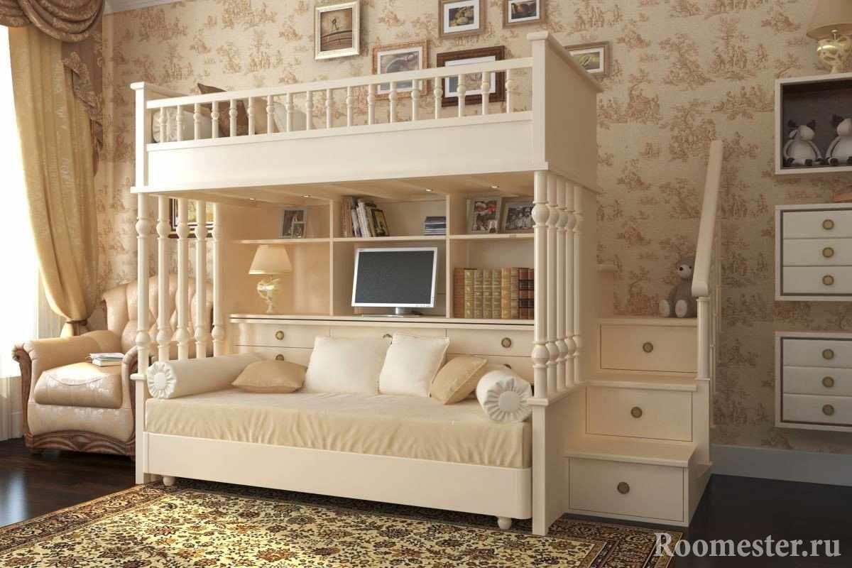 Двухспальная кровать в детской