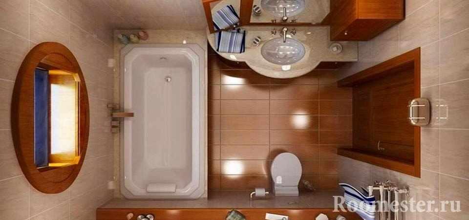 Сочетание коричневой и бежевой плитки в ванной