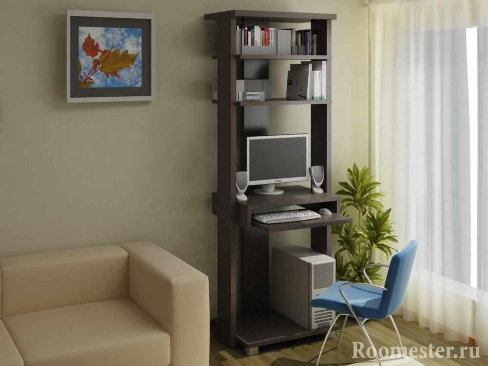 Стол для компьютера в виде шкафчика у окна