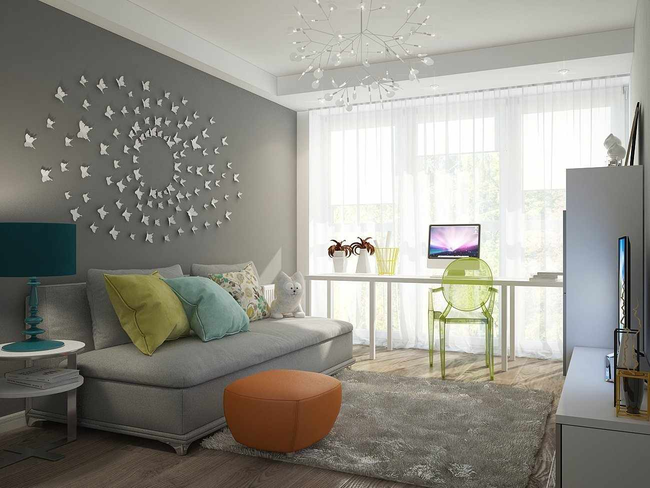 Декоративная отделка стены в комнате для подростка