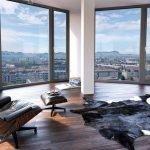 Комната для деловых переговоров с панорамными окнами