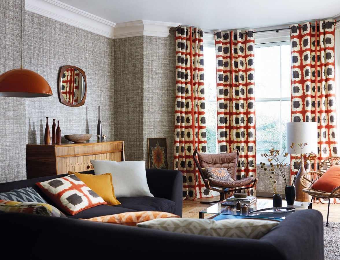 Текстиль в интерьере в стиле 70-х годов