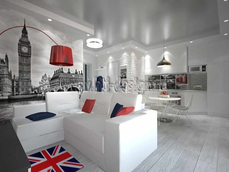 Белая мебель в интерьере в лондонском стиле