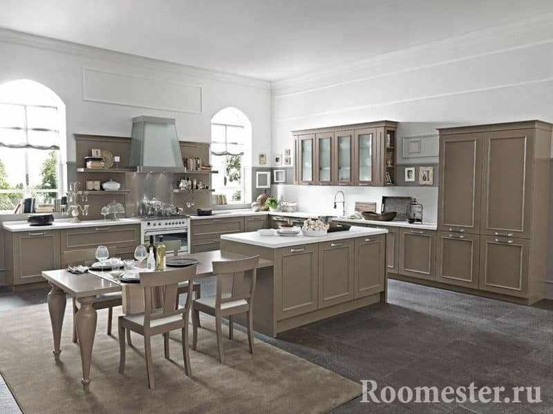 Кухня-столовая в неоклассике