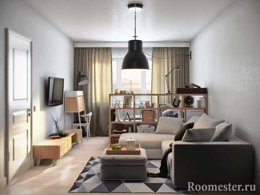 Зонирование зала со спальней