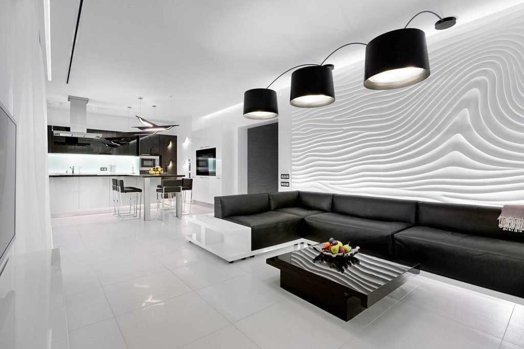 Черные светильники на потолке