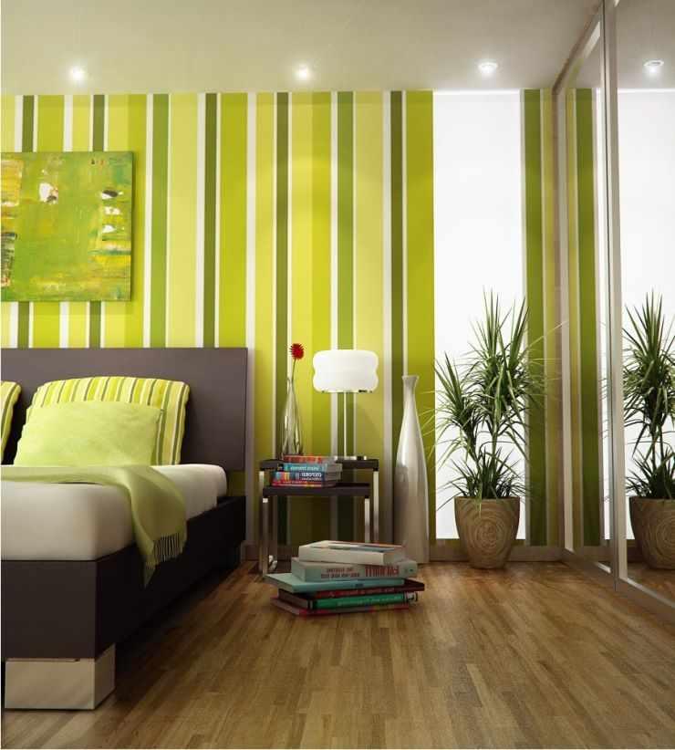 Полосатая зеленая спальня