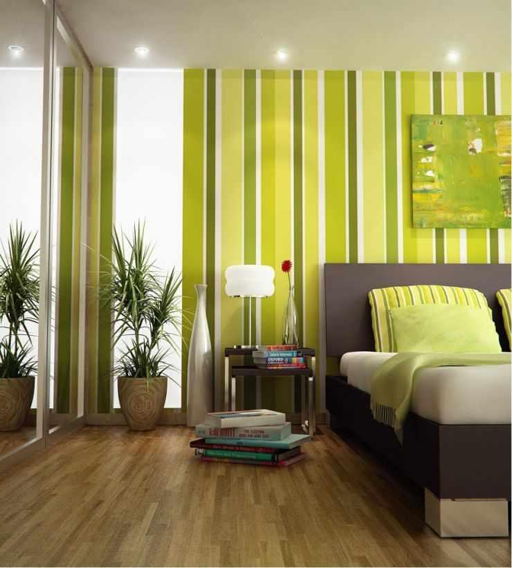 Интерьер небольшой спальни в зеленых тонах
