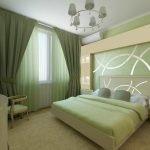 Интерьер зеленой спальни в стиле модерн