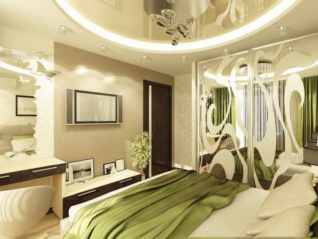 Интерьер спальни в зеленых и светло-бежевых тонах