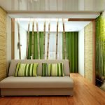 Стиль модерн в зеленой спальне