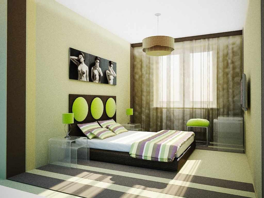 Необычный дизайн спальни в бежево-зеленых тонах