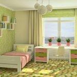 Необычный дизайн спальни в розово-зеленых тонах