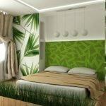 Аксессуары в спальне в зеленых тонах