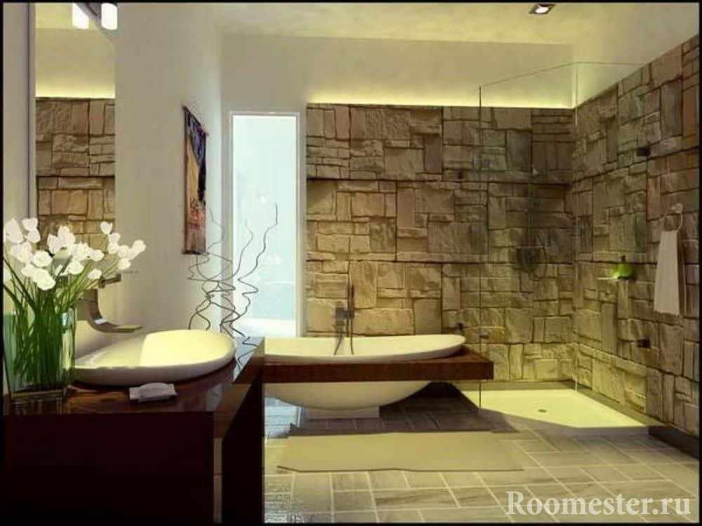 Искусственный камень в ванной комнате