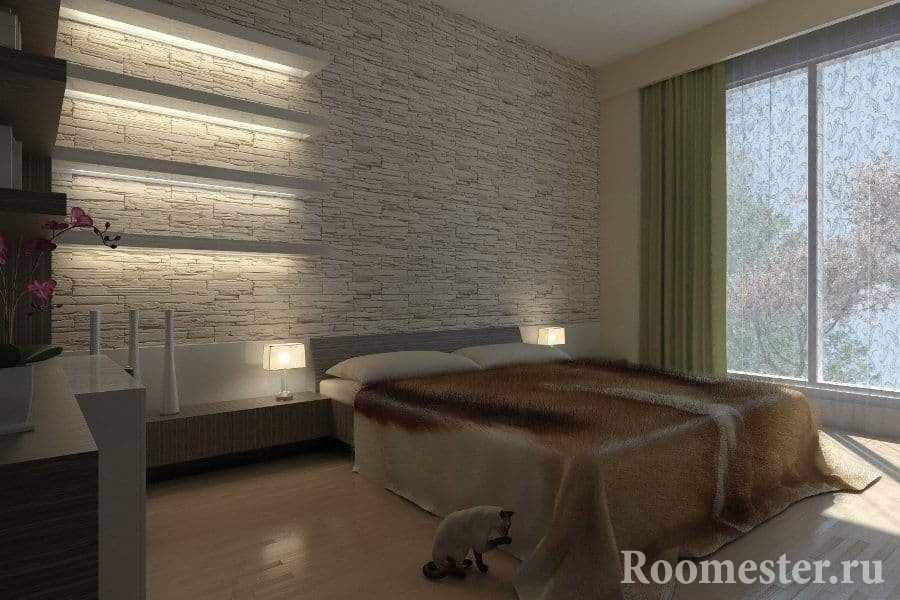 Стена из камня с подсветкой