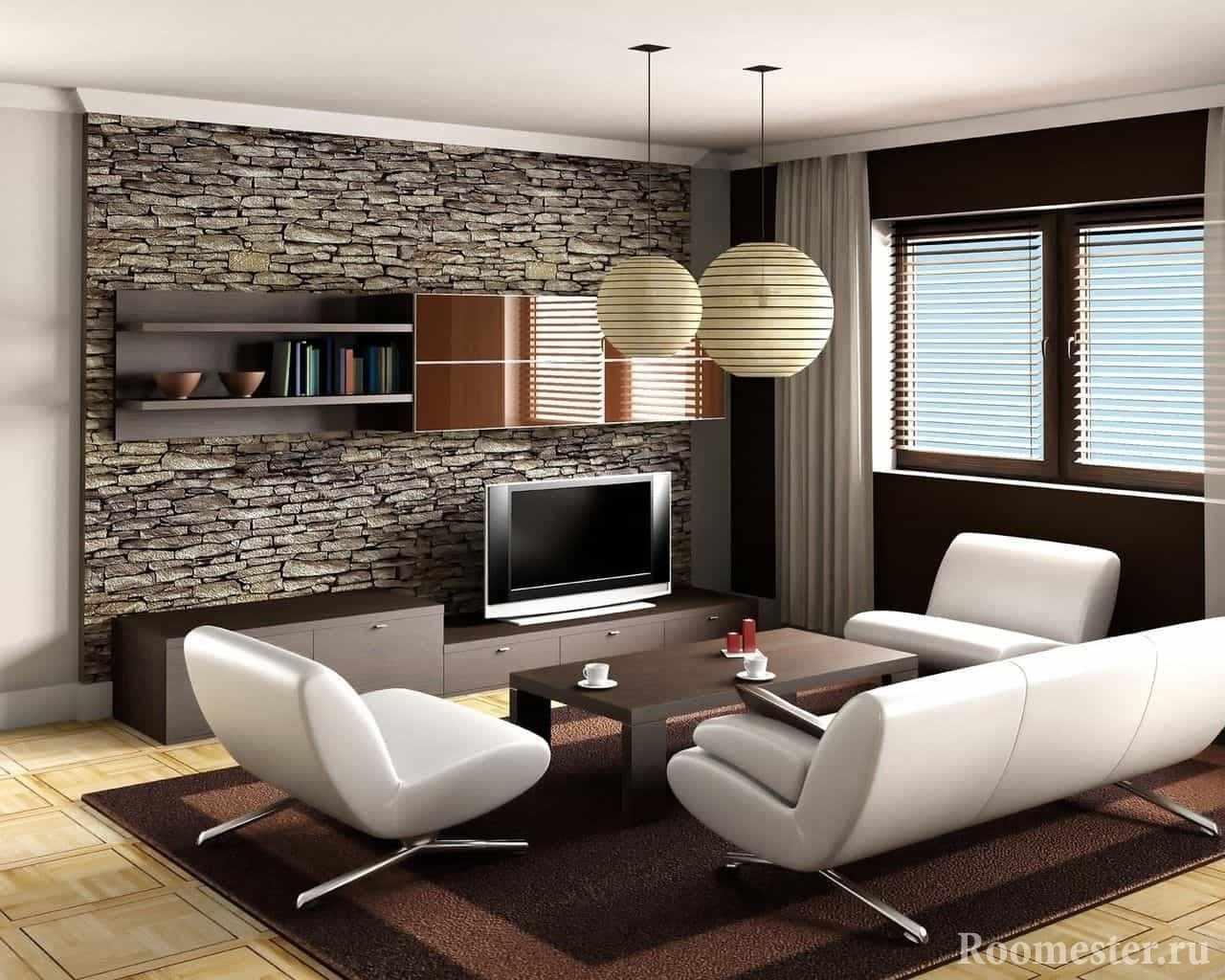 Стена с декоративным камнем