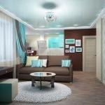 Бирюзовый цвет в интерьере однокомнатной квартиры