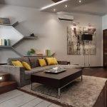 Желтые подушки в интерьере гостиной