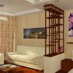 Деревянная перегородка в гостиной