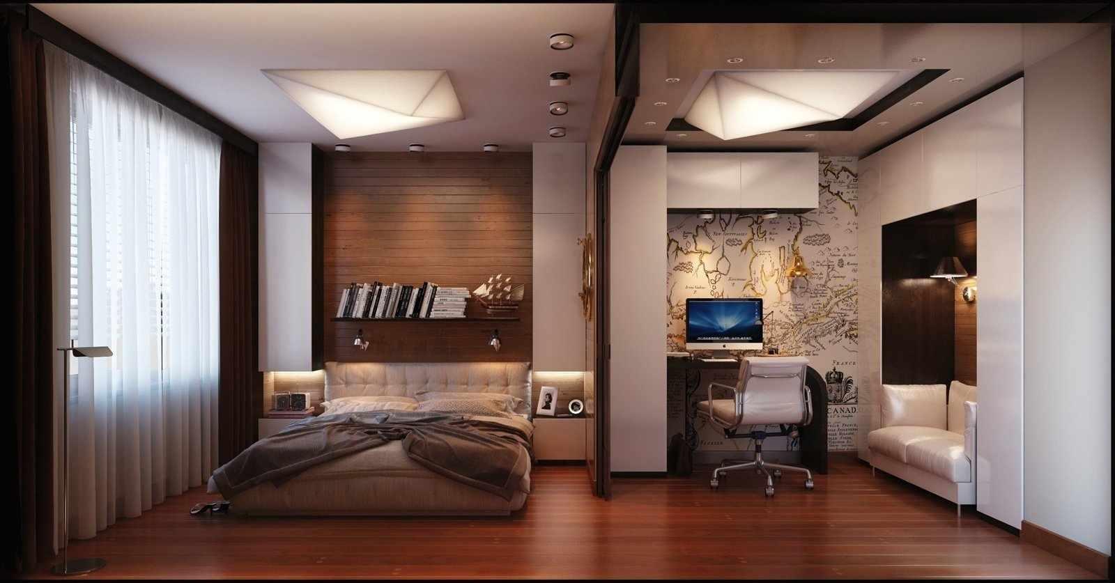 Интерьер спальни с кабинетом
