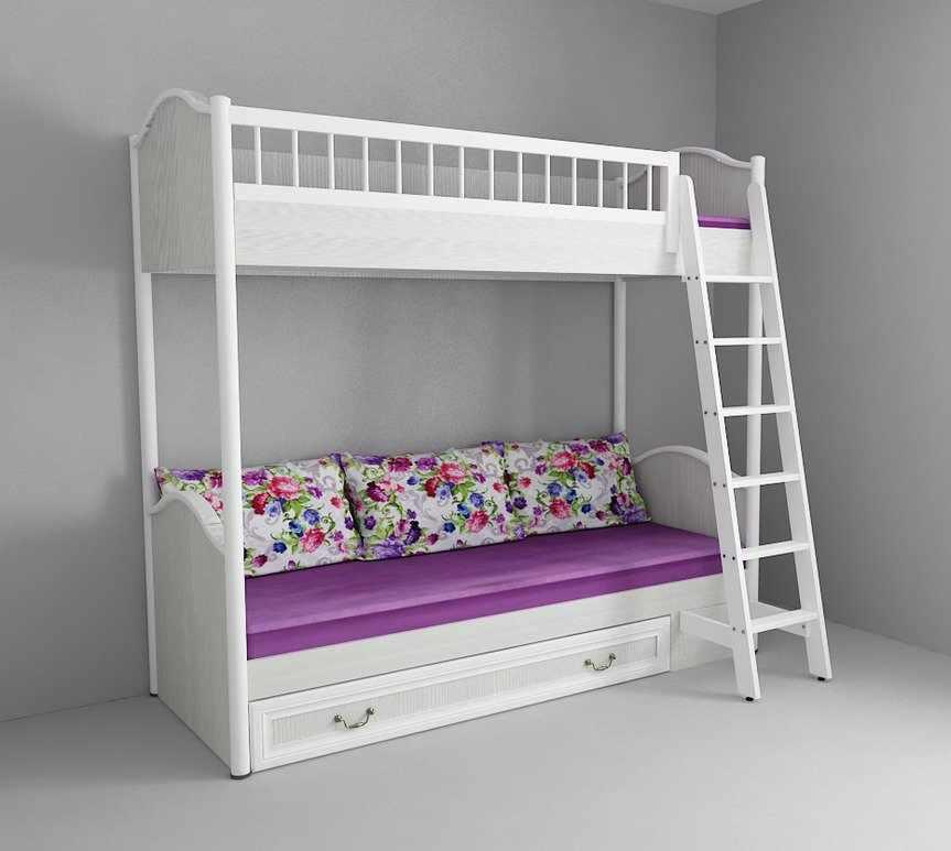 Двухъярусная кровать с бортиками и лестницей