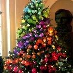 Яркие шары на елке